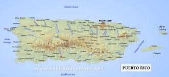 Caribbean Sea On Map puerto rico map geographical features of puerto rico of the