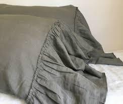 medium grey linen pillowcases with mermaid country ruffles