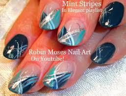 cute nails diy mint stripe nail art fun silver and teal nail