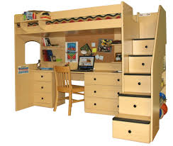 loft beds with desk underneath and staircase with drawers and