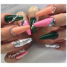army green and babypink coffin nails fall fashion nail design