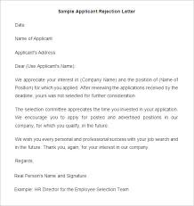 Sending Resume To Hr Email Sample by 27 Rejection Letters Templates Hr Templates Free U0026 Premium