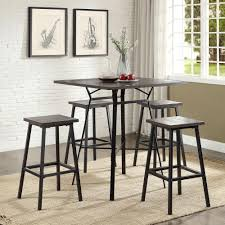 Five Piece Dining Room Sets Acme Furniture Dora 5 Piece Weathered Dark Oak And Black Bar Table