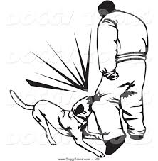 doggy clipart of a coloring page of a trained guard dog attacking