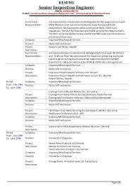 Job Duties On Resume by Senior Inspection Engineer V Chandrasekhar Resume As On 01 12 2014