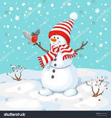 snowman bird snowman greeting cute christmas stock vector
