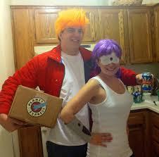 easy homemade couples halloween costume ideas fry and leela halloween couples costume idea bigdiyideas com