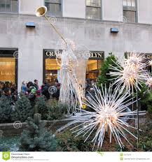 christmas decorations at rockefeller center editorial stock image