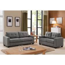 Grey Sofa And Loveseat Set Tanya Modern 2 Piece Grey Tufted Sofa And Loveseat Set S5092 2pc