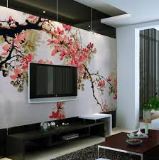 living room pink cherry blossom on tree living room wall murals