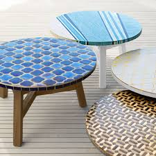 West Elm Outdoor by Mosaic Tiled Coffee Table Decorator Print Driftwood Base