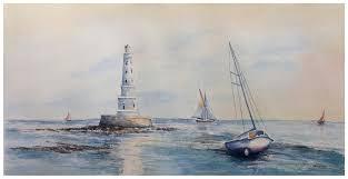 peinture de bord de mer aquarelle originale peinture d u0027un paysage de bord de mer soleil
