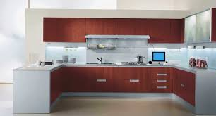 Blue Backsplash Kitchen U Shaped Brown Wooden Kitchen Cabinet With White Top And Bottom On