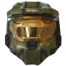 Halloween Halo Costumes Halo Master Chief 2 Piece Helmet Mask Costume Video Game Toy Green