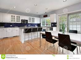 Blue Backsplash Kitchen Blue Backsplash And Stainless Steel Vent Hood Royalty Free Stock