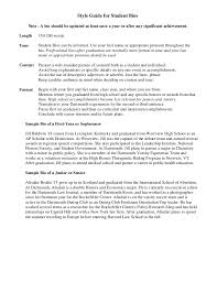 Samples Of Resumes For Highschool Students by Sample Student Bio