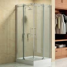 bathroom double sliding doors over bath shower enclosure