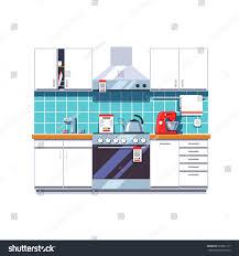modern kitchen interior cabinets shelves oven stock vector