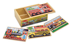 amazon com melissa u0026 doug vehicles 4 in 1 wooden jigsaw puzzles