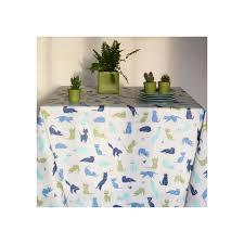 nappe ronde enduite 160 nappe en coton enduit chats bleue nappe enduite fleur de soleil