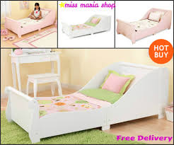 Single Bedroom Furniture Girls Single Bed White Pink Sleigh Toddlers Kids Bedroom Furniture