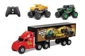 grave digger monster truck song amazon com new bright r c s f hauler set car carrier with two