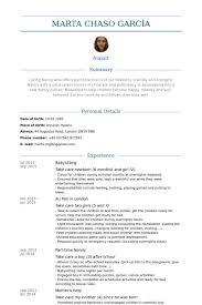 Sample Babysitter Resume by Babysitting Resume Examples