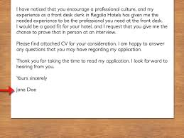 Front Desk Hotel Cover Letter How To Write A Cover Letter To A Hotel Vripmaster