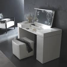 Modern Bedroom Set Dark Wood Modern White Polished Oak Wood Make Up Table With Folding Mirror