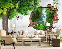 online get cheap 3d wallpapers nature aliexpress com alibaba group 3d wallpaper nature tree bird brick wall mural 3d wallpaper 3d wall papers for tv backdrop