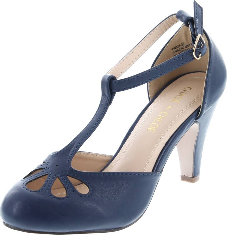 Chase & Chloe Kimmy-36 Teardrop Cut Out T-Strap Mid Heel Dress Pumps,Navy,7