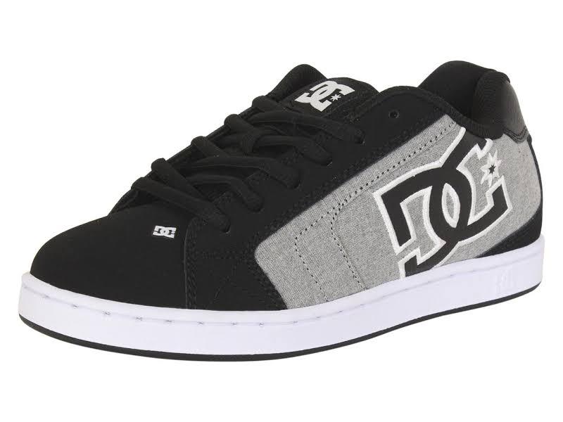 DC Net SE 302297 Black Nubuck & Canvas Athletic Lace Up Skate Shoes