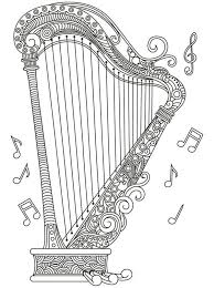 harp coloring page 154 best coloring music images on pinterest coloring books
