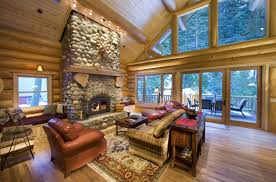Cheap Hunting Cabin Ideas Small Unvarnished Log Cabin Design Inspiration Brick Tiles Wall