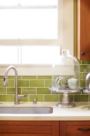 special green subway tile kitchen backsplash ceramic wood tile