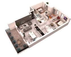 L Shaped House Floor Plans 25 More 3 Bedroom 3d Floor Plans