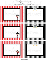 printable party favor tags labels food table labels pirate