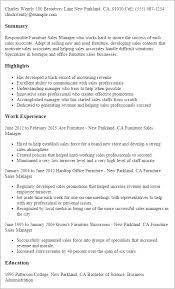 Resume Templates  Furniture Sales Manager My Perfect Resume