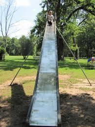 best old semi dangerous metal slide playground still left