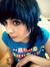 black hair with blue tips