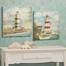 Decorative Lighthouses For In Home Use Lighthouse Harbor Wooden Wall Art Plaque Set