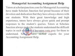Managerial Accounting Assignment Help   Scholarsjunction com   YouTube