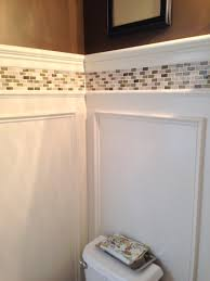 Wainscoting Ideas Bathroom by Powder Room Update Shadow Box Wainscoting And Tile Border