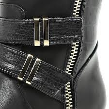real biker boots river island black faux fur lined metal trim biker boots in black