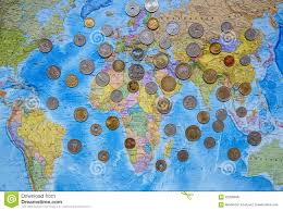 World Map Asia by Coins Of Different Countries On The World Map Background Editorial