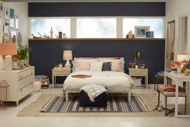 Vintage White Bedroom Furniture Navy Blue Accent Wall Bedroom Ideas Featuring Simple White Iron
