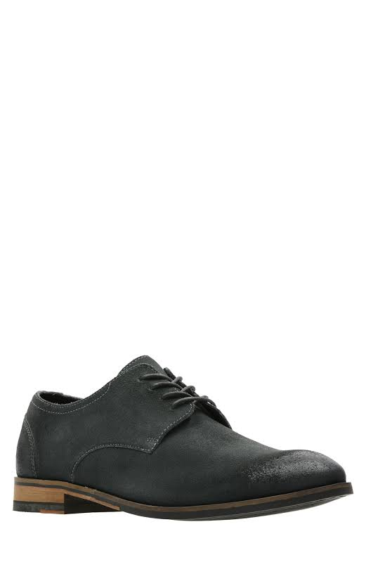Clarks Flow Plain 26141040 Gray Leather Casual Lace Up Oxfords Shoes
