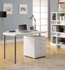 white office desk laptop workstation with drawer minimalist desk