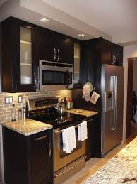 l modern small kitchen design with black painted cherry wood