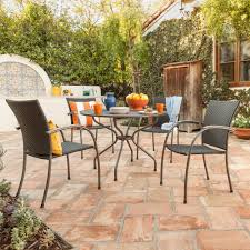 5 Pc Patio Dining Set - ludwig 5 piece patio dining set with wicker chairs round dining